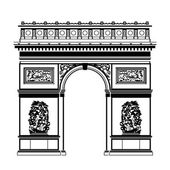 French Arc de Triomphe in black-and-white color