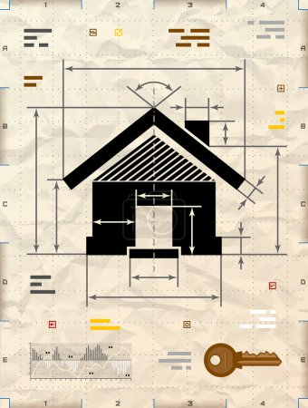 Illustration for Drafting of home sign on crumpled kraft paper. Qualitative vector illustration about architecture, building, real estate, construction, development, housing, etc. It has transparency, blending modes, gradients - Royalty Free Image