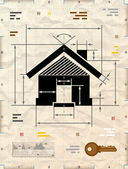 House symbol as technical blueprint drawing