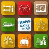 Flat icons set of travel elements