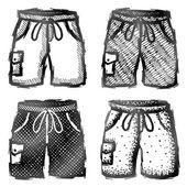 Hand drawn shorts with pocket