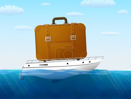 Illustration for Suitcase on yacht sailing. Qualitative vector illustration about travel, cruise, tourism, sailing, vacation, trip, etc. It has transparency, blending modes, masks, blend, gradients - Royalty Free Image