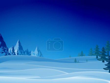 Night snowy scene with ridge and christmas trees