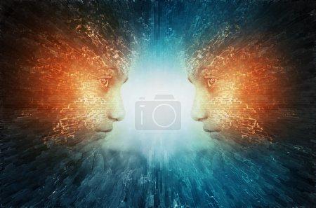 Photo pour Pouvoir mental abstrait visage pensée évolution science-fiction - image libre de droit