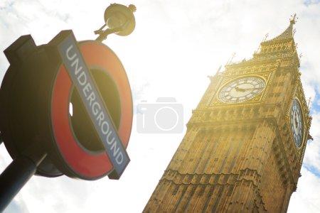 Photo pour Londres Big Ben, la station de métro. - image libre de droit