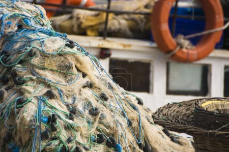 Fishing net and boat