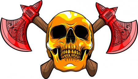 Illustration for Illustration of human skull with ax - Royalty Free Image