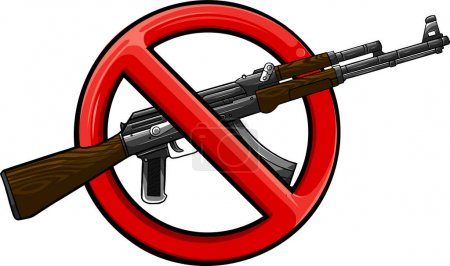 Illustration for Silhouette of assault rifle with sign ban - Royalty Free Image