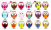 Big set of cartoon owls EPS 10