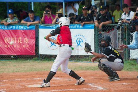 Batter about to hit the ball in a baseball game
