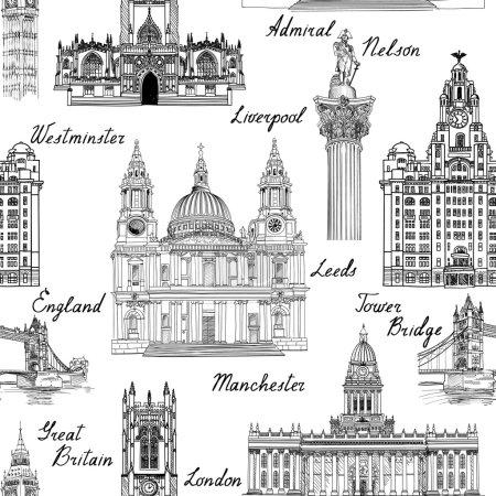 Photo pour Voyage Angleterre Royaume-Uni villes célèbres monuments avec calligraphie à la main. Londres, Manchester, Liverpool, Leeds motif sans couture pour votre conception. motif sans couture. Monuments architecturaux célèbres et bâtiments gravés croquis fond texturé - image libre de droit