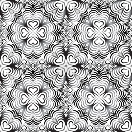 Floral seamless pattern with heart shapes ornament