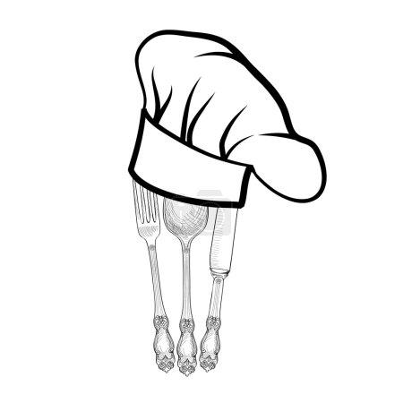 Illustration pour Chef cuisinier chapeau avec fourchette, cuillère et couteau, dessin à la main des étiquettes de croquis. icônes Couverts - image libre de droit
