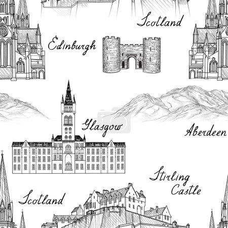 Photo pour Voyage Écosse célèbres villes monuments avec calligraphie à la main. Édimbourg, Glasgow. Monuments architecturaux et bâtiments gravés croquis - image libre de droit