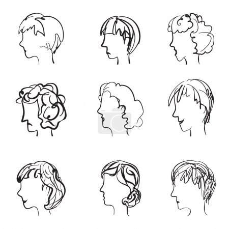 Illustration for Faces profile with different expressions in retro sketch style. 9 facial expressions set, vector illustration - Royalty Free Image