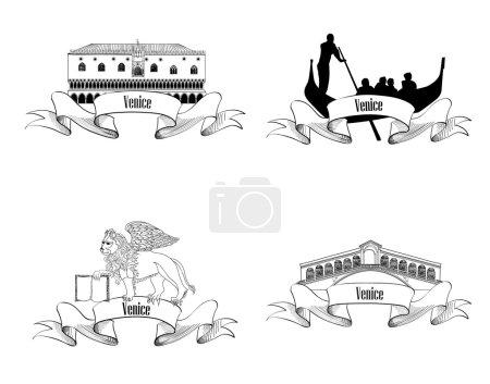 Venice symbol set.Venice landmarks