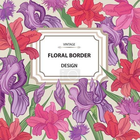 Illustration pour Frontière florale. Fond de fleur. Carte printemps fleurie vintage - image libre de droit