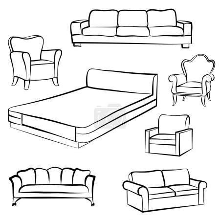 Bed, sofa, settee,armchair Furniture set
