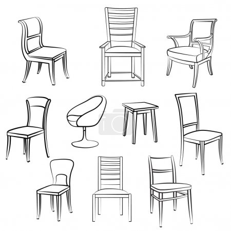 Chair, armchair, stool Furniture set