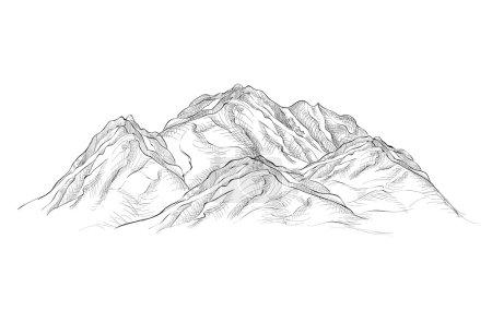 Illustration pour Gravure Montagnes croquis dessiné à la main illustration - image libre de droit