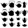 Kettles set. Teapot silhouettes collection....
