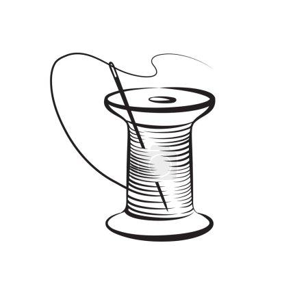 Illustration pour Aiguille et fil. Illustration des aiguilles - image libre de droit