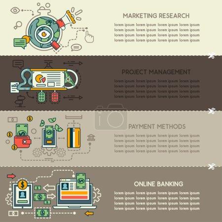 Illustration pour Ensemble de quatre bannières commerciales : marketing, recherche, gestion de projet, modes de paiement, Banque en ligne - image libre de droit
