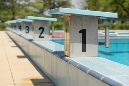 Photo for Swimming pool with a starting blocks - Royalty Free Image