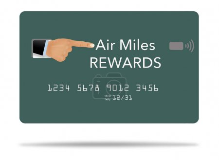 Ein Finger zeigt auf den Titel einer generischen Flugmeilen-Belohnungskarte in dieser 3-D-Abbildung.