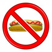 No Hot Dog Sign Isolated on White Background No Food Allowed Sign