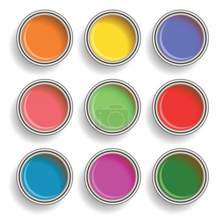 Illustration for Colorful illustration with paint can color palette on white background - Royalty Free Image