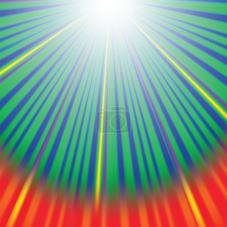 Illustration for Abstract Wave Background with Red,  Yellow, Green Rays. Rays diverging in different directions. - Royalty Free Image