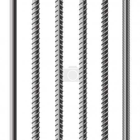 Illustration for Rebars, Reinforcement Steel Isolated on White Background. Construction Metal Armature - Royalty Free Image
