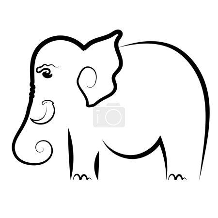 Illustration for Big Elephant Symbol Isolated on White Background - Royalty Free Image
