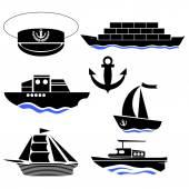 Sea Ships Silhouettes Anchor Icon Captain Hat Icon