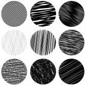Set of Black Diagonal Strokes Patterns Sketch Circles