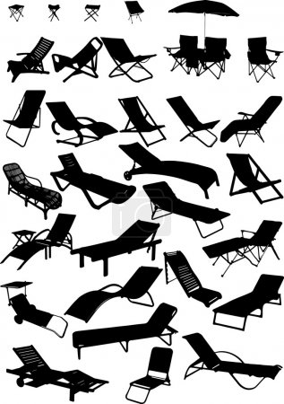 Silhouettes of beach chairs and sun loungers. 30 pieces