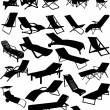 Silhouettes of beach chairs and sun beds. 30 piece...
