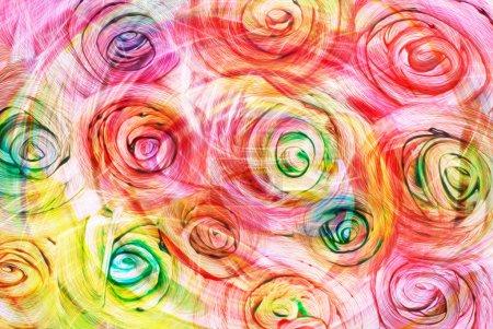 Foto de Arte abstracto brillante arco iris aceite de fondo en colores rojos, amarillos y verdes en forma de flores - Imagen libre de derechos