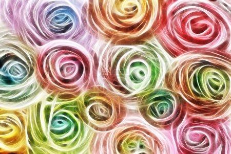 Photo pour Art, abstrait de traînées de lumière coloré lumineux en couleurs bleus, rouges, violets et verts en forme de fleurs - image libre de droit