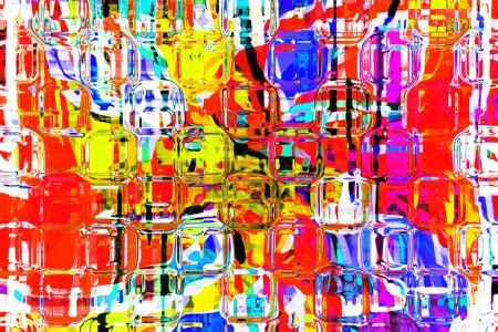 Photo pour Fond abstrait peinture dynamique colorée art en couleurs rouges, orange, verts et bleus - image libre de droit