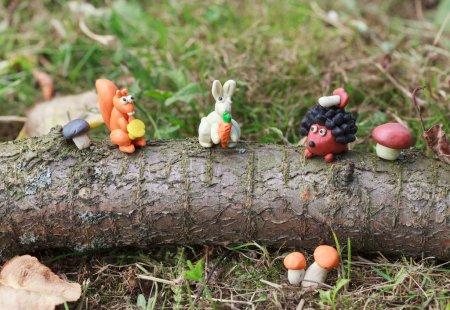 Plasticine world - little homemade squirrel with chanterelle, wh