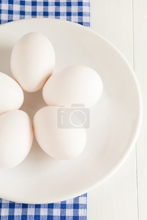 Raw eggs lie on a plate
