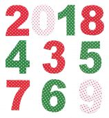 Fabric numbers on white