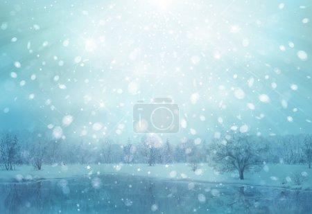 Photo pour Fond de neige hiver scène. - image libre de droit