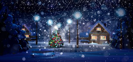 Photo for Winter night scene. Merry Christmas! - Royalty Free Image