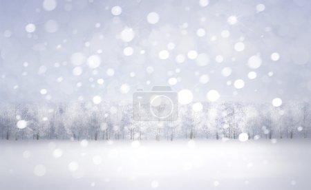 Photo pour Paysage de neige d'hiver avec forêt sur le fond - image libre de droit