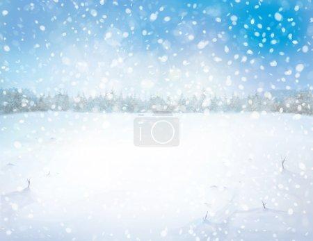 Photo pour Paysage enneigé hiver avec le fond de la forêt - image libre de droit
