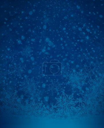 Photo pour Flocons de neige bleus hivernales illustration de fond bleu foncé - image libre de droit