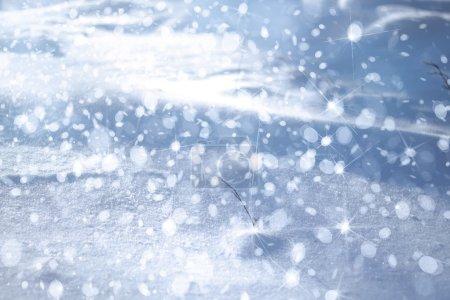 Photo pour Fond d'hiver avec la neige, les lumières et les étoiles - image libre de droit